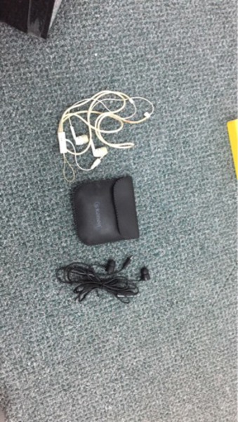 Used 2 working Earphones with leather case  in Dubai, UAE