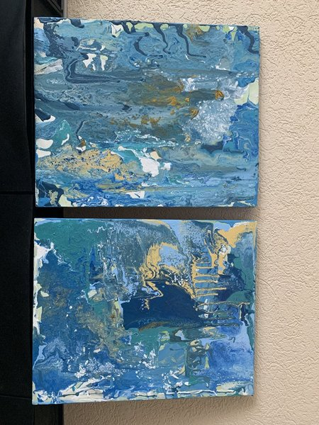 Used Beautiful original  Pour Painting 1 or 2 in Dubai, UAE