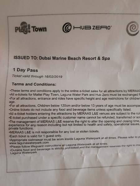 Used Lamer water park tickets in Dubai, UAE
