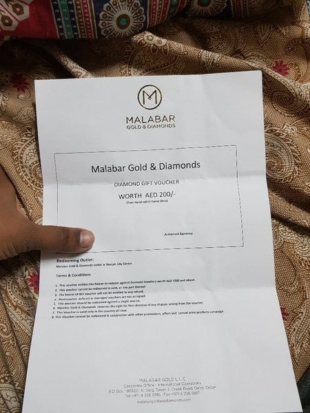 Used Gift card malabar gold and diamond in Dubai, UAE