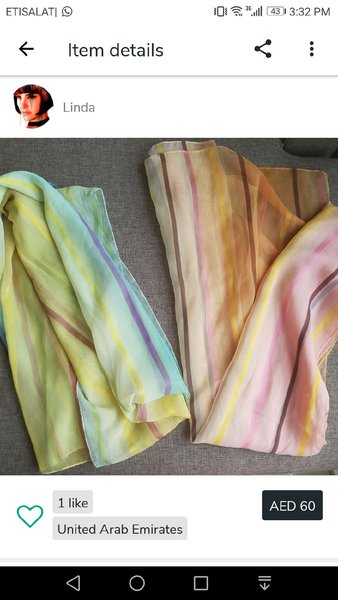 Used 2 Sheila scarves. Preowned in Dubai, UAE