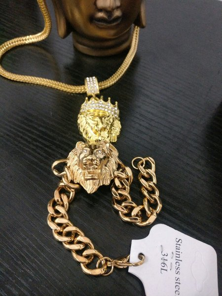 Used Lion and dragon necklace set for men in Dubai, UAE