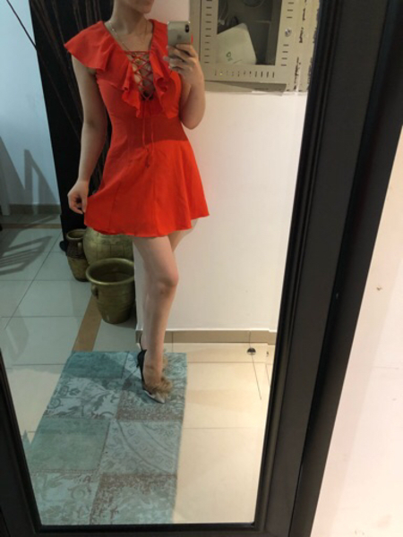 Used Dress orange beautiful  in Dubai, UAE