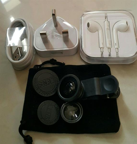 Used 3 in 1 Bundle- New Sets: Iphone Charger + Fish Eye & Micro Lenses + Earpods in Dubai, UAE
