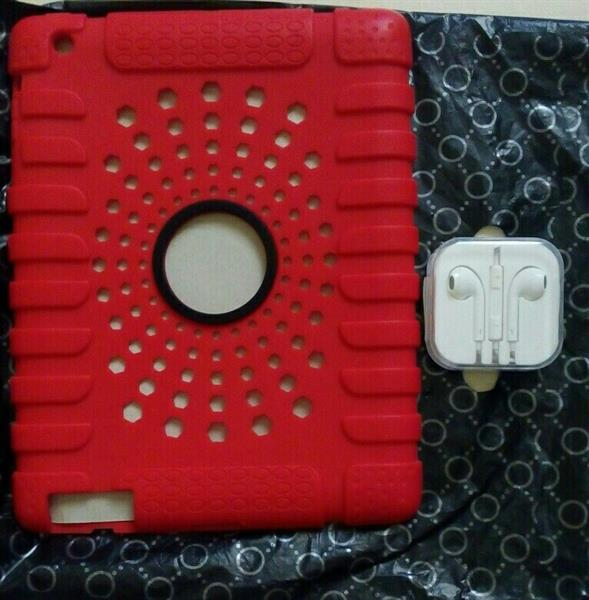Used New Rubberized RED Color back cover for IPad 2/3/4.with brand new earpods.  in Dubai, UAE