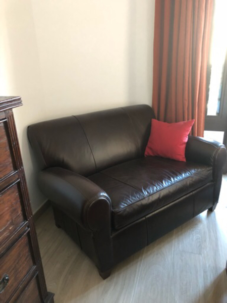 2 wood cabinet 1 real leather sofa