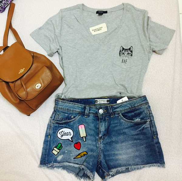 Used Forever 21 Tshirt And Terranova Patches Short in Dubai, UAE