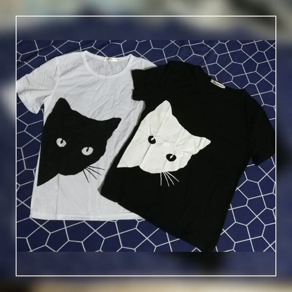 Used Cat lovers black and white tshirt size S in Dubai, UAE