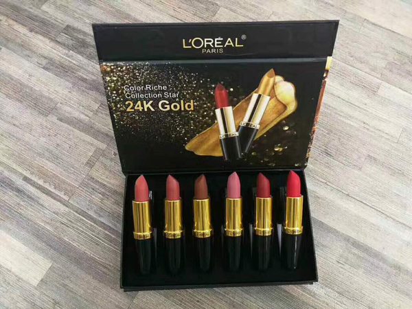 Used #Loreal Set Lipstick 6in1 6 Awesome Colors Matte Lipstick In 1 Set Plus One Set 3 Pieces Contour Creamy Highlighter ! All In 1 Price ! Super Combo !  in Dubai, UAE