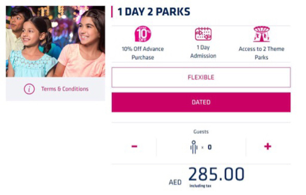 Used 2 Dubai Parks Tickets. 2 Parks in 1Day in Dubai, UAE