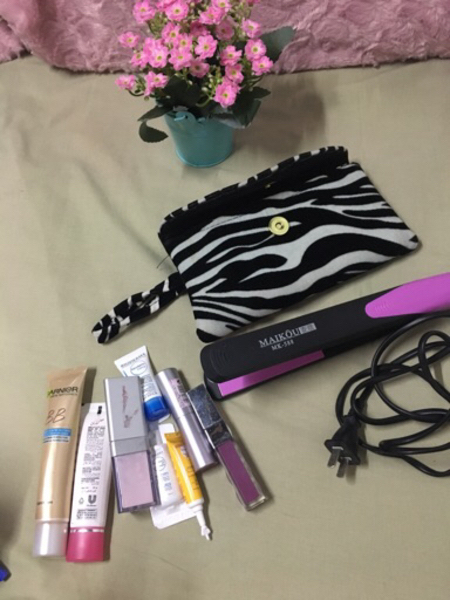 Bundle of cosmetics pouch and hair iron
