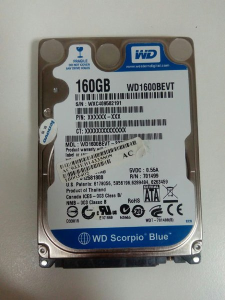 Used HDD 2.5 WD 160Gb SCORPIO BLUE in Dubai, UAE