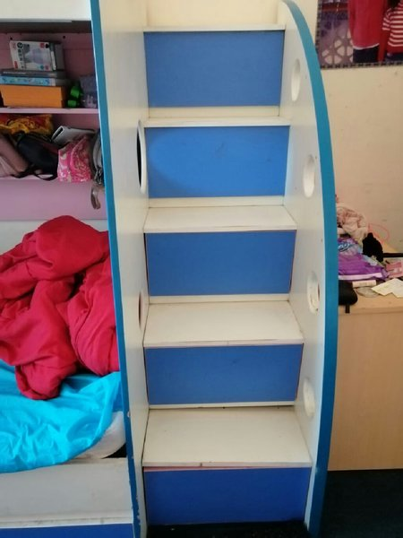 Used Wooden Bunk bed with free shelf in Dubai, UAE