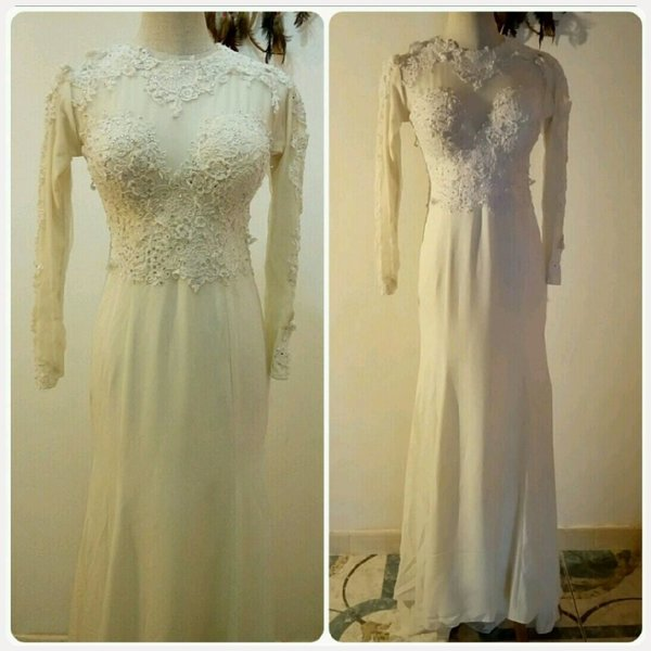 Used Long dress ofwhite color longsleeve in Dubai, UAE