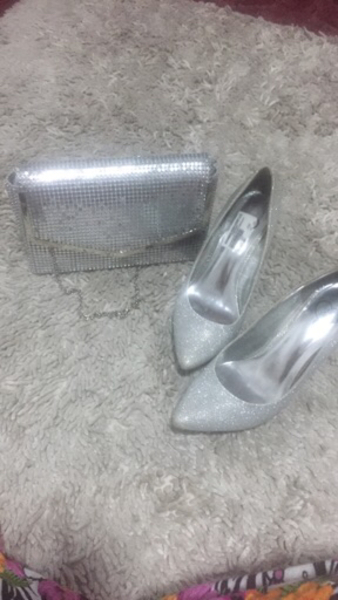 Used Silver sparkly shoes and bag in Dubai, UAE