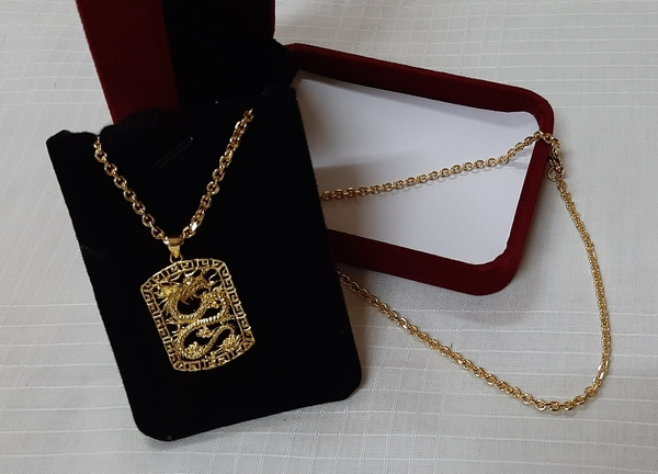 Used Gold plated Dragon necklace + knee patch in Dubai, UAE