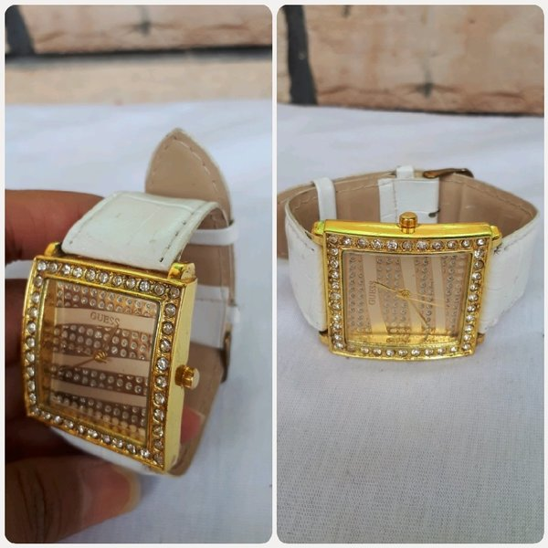 Used Guess watch gold white in Dubai, UAE