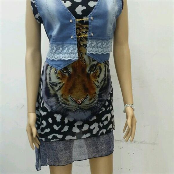 Used Brand New midi/top with attached denim jacket in Dubai, UAE