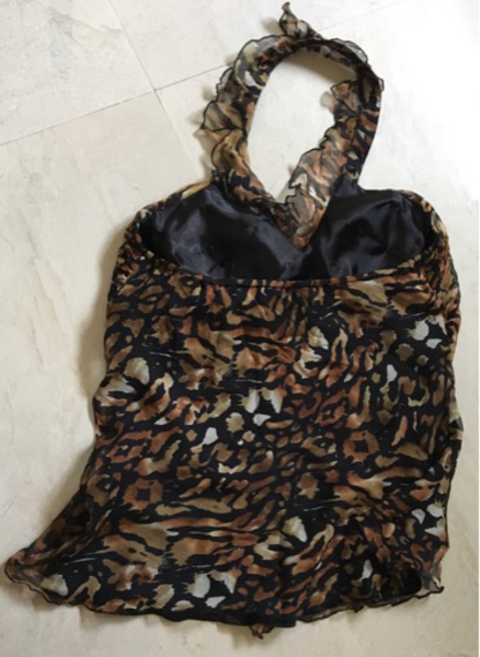 Animal print silk halter-neck top
