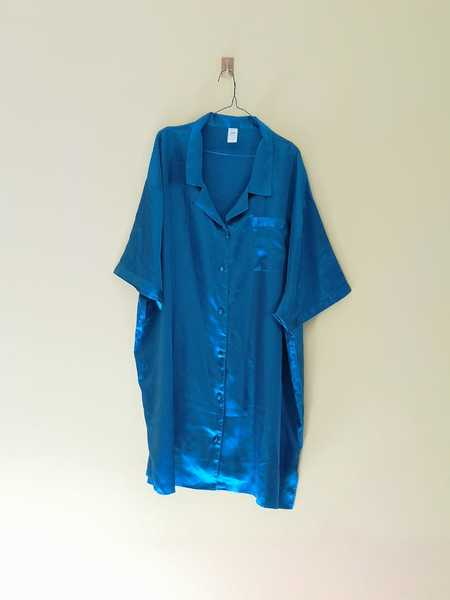 Used Blue Silk Shirt Size 30/32 Brand: Images in Dubai, UAE