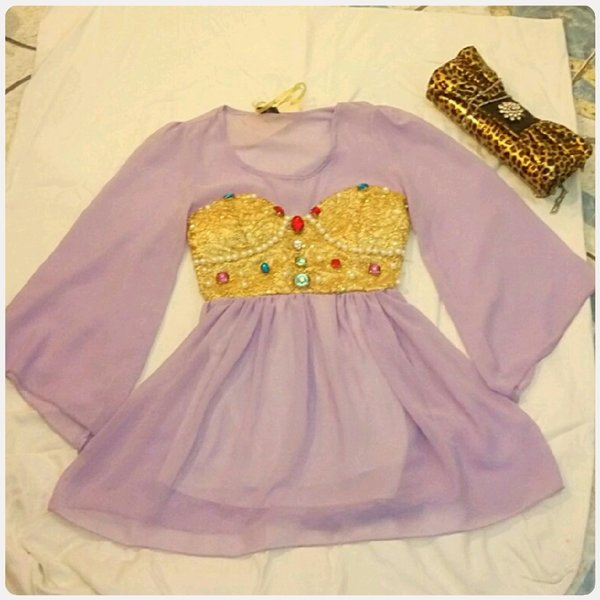 Used ELEGANT short dress purple/GOLD color in Dubai, UAE