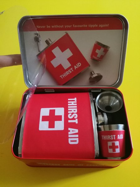 "Used ""Thirst Aid"" fun giftset. New in Dubai, UAE"
