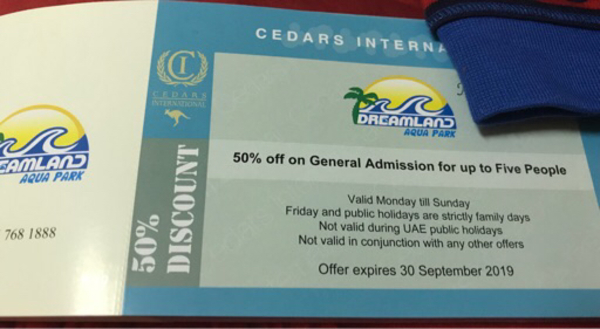 Used Dreamland Aqua Park Voucher / Tickets in Dubai, UAE