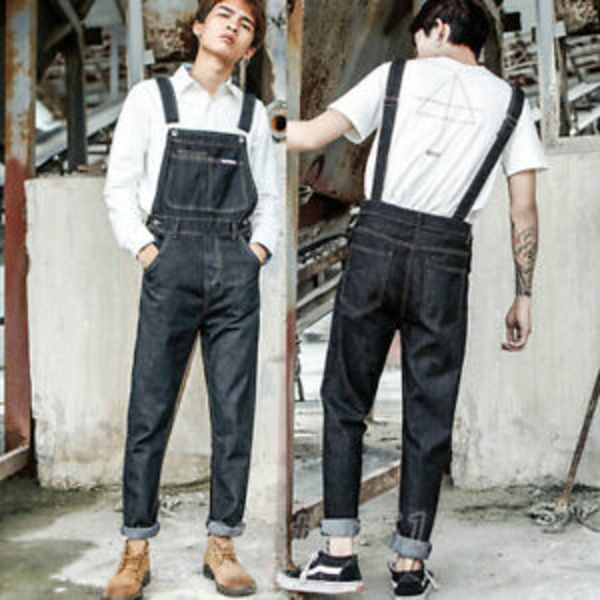 Used New denim jeans dirty black overall L in Dubai, UAE