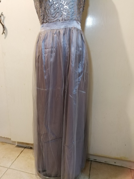Used Cute maxi tulle grey dress with silver in Dubai, UAE