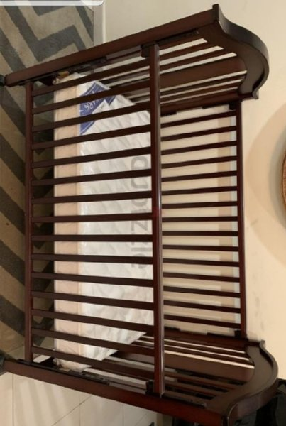 Used Wooden BabyCrib-Size:Large with Mattress in Dubai, UAE