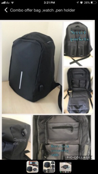 Used Antitheft back Pack  in Dubai, UAE