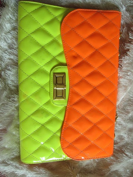Bright bag, neon, some wear and tear