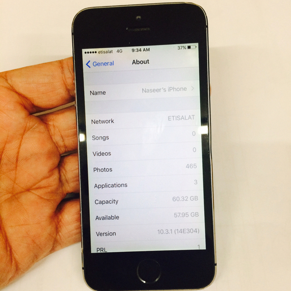 Used Iphone 5s 64 Gb With Original Handsfree, Charger & Box. Used And Have Little Scratches Due To Usage Of The Phone. Original And Without Any Fault.  in Dubai, UAE