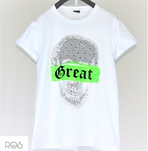 Used White T-shirt great skull with ( NEW) in Dubai, UAE
