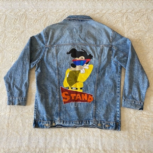 Used Pull & Bear painted denim jacket (L) in Dubai, UAE