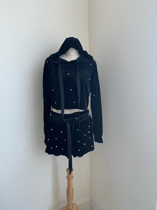 Used Set Velvet Hoodie and Shorts with pearls in Dubai, UAE