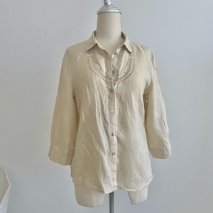 Used Beige 100% linen blouse shirt top S M in Dubai, UAE