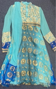 Used Blue Turquoise Chiffon 3 pc Indian suit  in Dubai, UAE