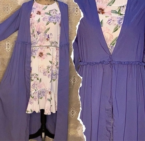 Used Floral Dress + Long Cover Up Robe  in Dubai, UAE