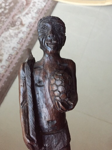Used handcarved wooden african hunter statue in Dubai, UAE