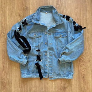 Used Denim jacket with velvet laces (freesize in Dubai, UAE