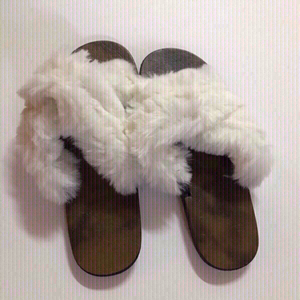 Used Fluffy white flip flop size 37(new) in Dubai, UAE