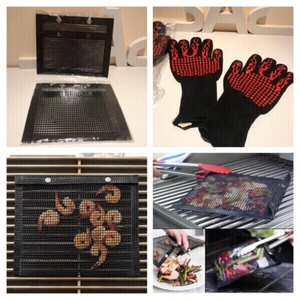 Used BBQ gloves 2 pcs & 2 mesh grill bags  in Dubai, UAE