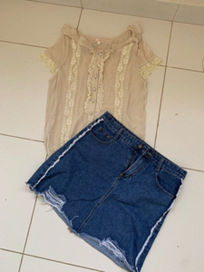 Used Denim skirt and blouse combo in Dubai, UAE
