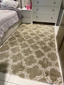 Used Beige and white carpet, fluffy yet thin in Dubai, UAE