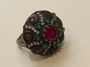Used Sterling silver ruby emerald ring 💍  in Dubai, UAE