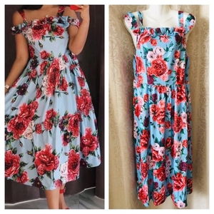 Used Floral🌹 dress size M in Dubai, UAE