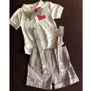 Used Handsome tie & bodysuit & shorts set 6-9 in Dubai, UAE
