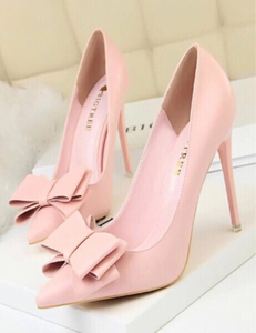 Used Women High Heeld Pumps Solid ColorBow in Dubai, UAE