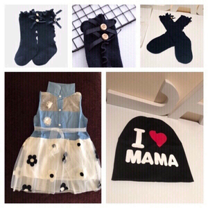 Used Girls dress & socks 5-8y + I❤️Mama hat in Dubai, UAE